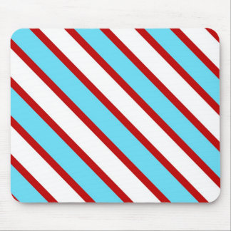 Fun Turquoise Blue Red and White Diagonal Stripes Mouse Pad