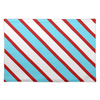 Fun Turquoise Blue Red and White Diagonal Stripes Placemat