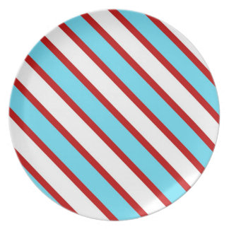 Fun Turquoise Blue Red and White Diagonal Stripes Plate