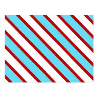 Fun Turquoise Blue Red and White Diagonal Stripes Postcard