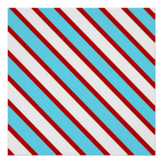 Fun Turquoise Blue Red and White Diagonal Stripes Poster