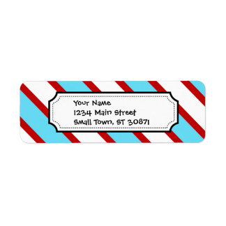 Fun Turquoise Blue Red and White Diagonal Stripes Return Address Label