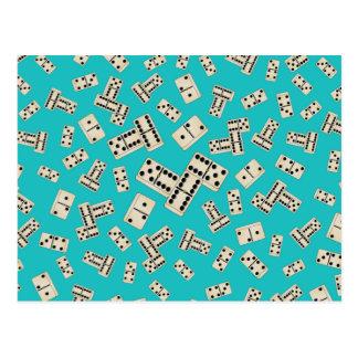 Fun turquoise domino pattern postcard