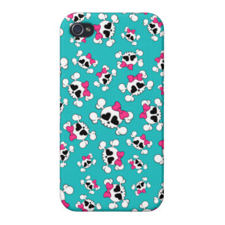 Fun turquoise skulls and bows pattern iPhone 4/4S covers