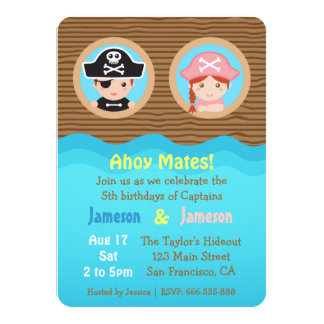 Fun Twins, Pirate Theme Birthday Party 4.5x6.25 Paper Invitation Card