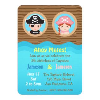 Fun Twins, Pirate Theme Birthday Party Card