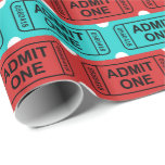 Fun two color movie ticket party pattern wrap wrapping paper