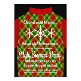 Fun Ugly Christmas Sweater Party 5x7 Paper Invitation Card