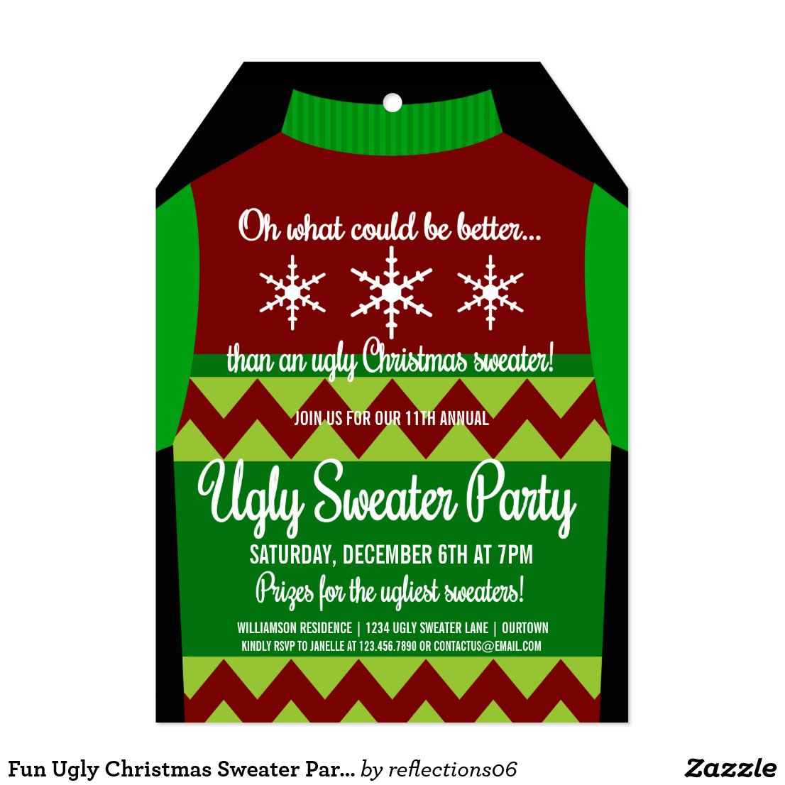 Fun Ugly Christmas Sweater Party Card