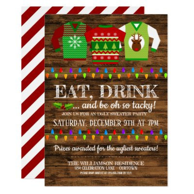 Funny Ugly Christmas Sweater Party with Cute Llama Invitation