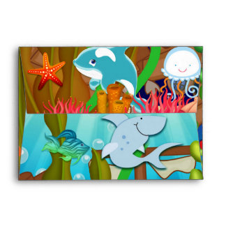 Fun under the sea kids birthday party invitation envelope