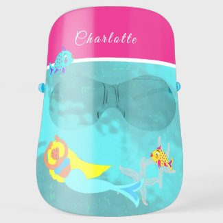 Fun Under Water Mermaid Fishes Girly Personalized Face Shield