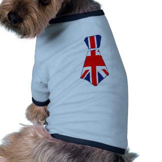 Fun Union Jack Tie Art Doggie Tee Shirt