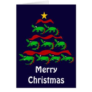 Fun Unique Alligator Art Christmas Tree Card