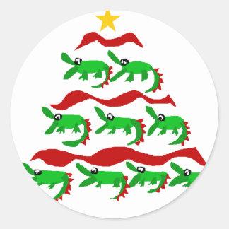 Fun Unique Alligator Art Christmas Tree Classic Round Sticker