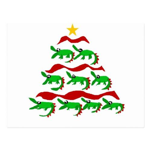 Fun Unique Alligator Art Christmas Tree Postcard