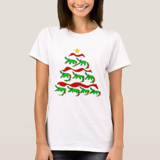 Fun Unique Alligator Art Christmas Tree T-Shirt