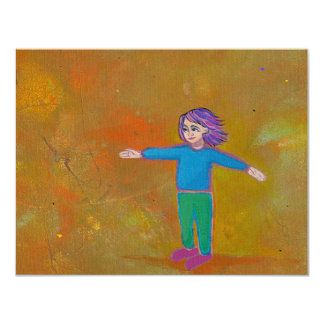 Fun unique art modern abstract colorful woman wind card
