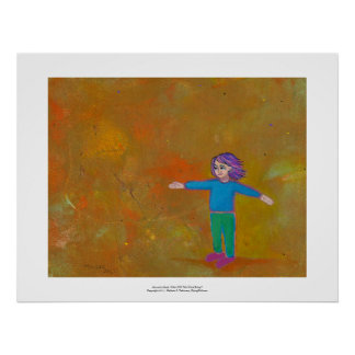 Fun unique art modern abstract colorful woman wind posters