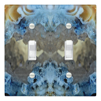 Fun Unique Blue Amber Geode Crystal Rock Pattern Light Switch Cover