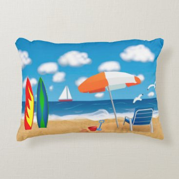 Beach Themed FUN VACATION PILLOW, DAY AT THE BEACH DECORATIVE PILLOW