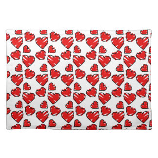 Fun Valentine Heart Scribbles Cloth Placemat