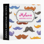 Fun various colorful mustache pattern binder