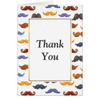 Fun various colorful mustache pattern card