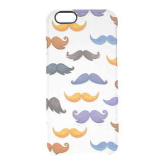 Fun various colorful mustache pattern clear iPhone 6/6S case
