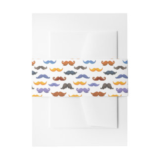 Fun various colorful mustache pattern invitation belly band