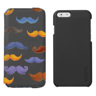 Fun various colorful mustache pattern iPhone 6/6s wallet case