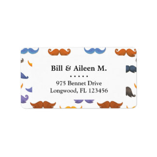 Fun various colorful mustache pattern label