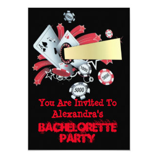 Fun Vegas poker casino chip bachelorette party 5x7 Paper Invitation Card