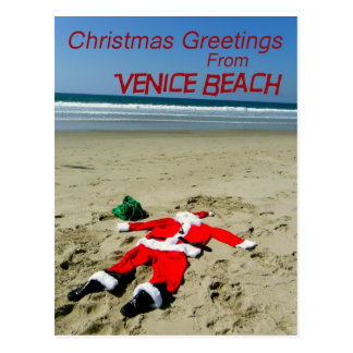 Fun Venice Beach Christmas Postcard! Postcard