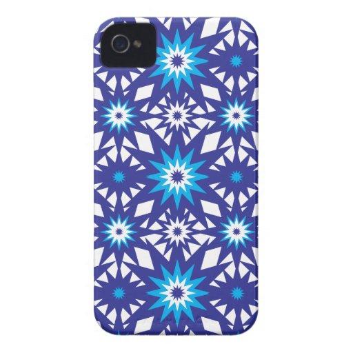 Fun Vibrant Blue Teal Star Starburst Pattern iPhone 4 Cases