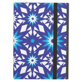 Fun Vibrant Blue Teal Star Starburst Pattern iPad Folio Cases