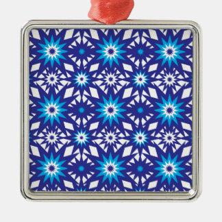Fun Vibrant Blue Teal Star Starburst Pattern Metal Ornament
