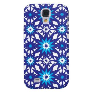 Fun Vibrant Blue Teal Star Starburst Pattern Samsung Galaxy S4 Cover