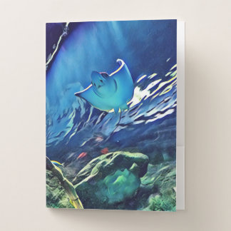 Fun Vibrant Blue Underside View of Stingray Pocket Folder