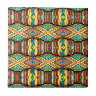Fun Vibrant Color Dimensional Kaleidoscope Design Ceramic Tile