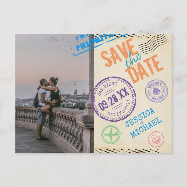 Fun Vintage Airmail Typography Photo Save The Date Invitation Postcard