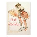 Fun, Vintage Art 90th Birthday Party Invitation