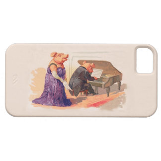 Fun Vintage Case - Cute Pig Piano Player Singer iPhone 5/5S Case