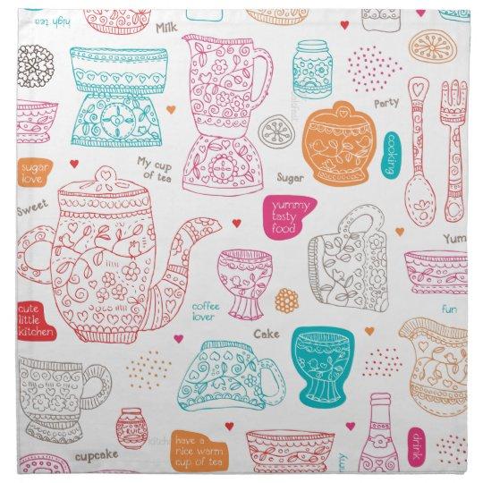 Fun vintage cooking design kitchen tea art pattern napkin