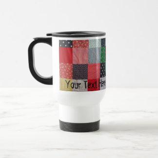fun vintage fabric patchwork colorful travel mug