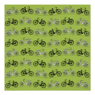 Fun Vintage Green Bicycles Pattern Print