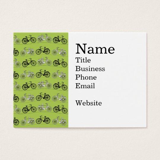 Fun Vintage Green Bicycles Pattern Print Business Card