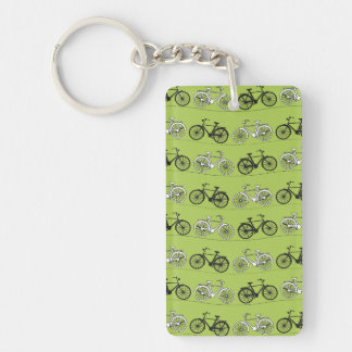 Fun Vintage Green Bicycles Pattern Print Double-Sided Rectangular Acrylic Keychain