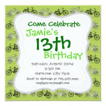 Fun Vintage Green Bicycles Pattern Print 5.25x5.25 Square Paper Invitation Card
