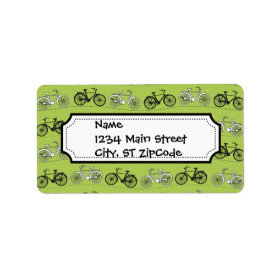 Fun Vintage Green Bicycles Pattern Print Custom Address Label